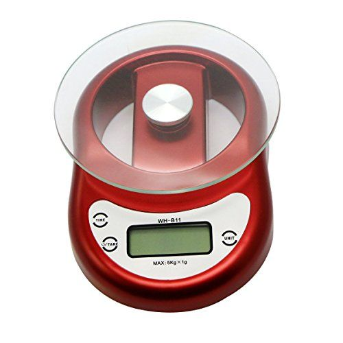 Soter Food Scale High Accuracy Digital Kitchen Scale Smart Weigh Professional Postal Scale with Tempered Glass Platform and Timer Red