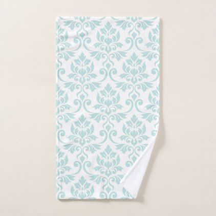 Feuille Damask Big Pattern Light Teal on White Hand Towel - pattern sample design template diy cyo customize