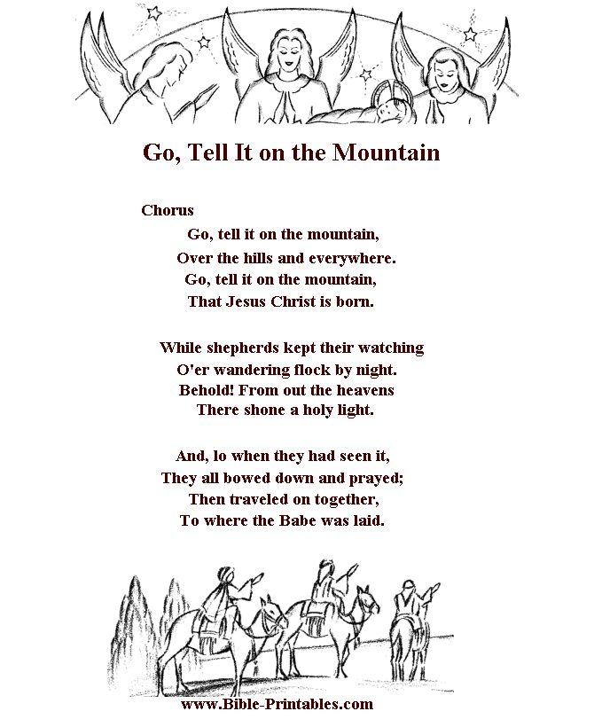 Children's Song Lyrics - Go Tell it on the Mountain