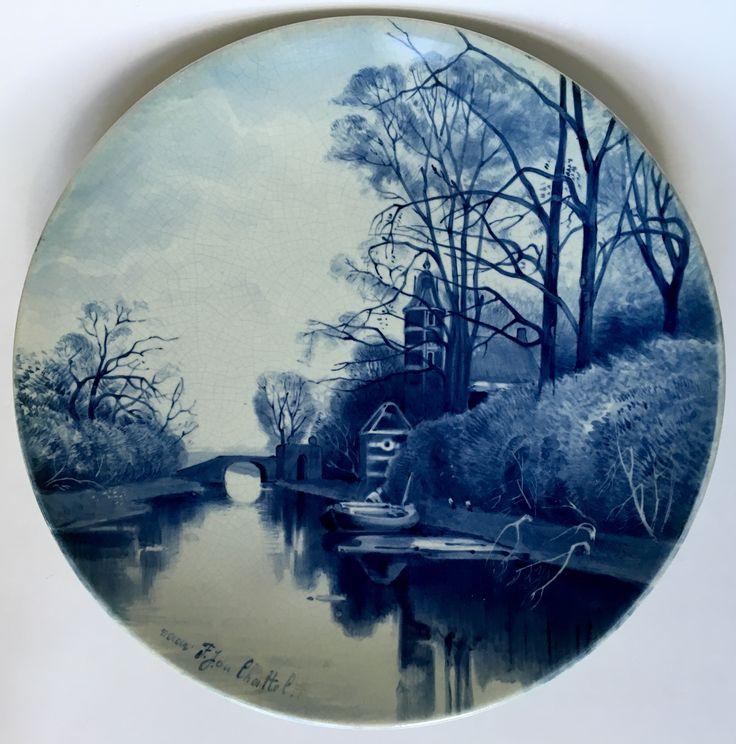 Wall plate design F.J. van Rossum du Chattel executed by Porceleyne Fles Delft in 1879.
