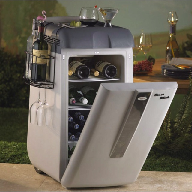 Koolatron - Portable Bar On Wheels. Unlike mere insulated coolers, this portable, rechargeable cooler keeps wine, beer, sodas, juice, water, refreshments and more chilled down to 40° F for up to 4 hours per charge.