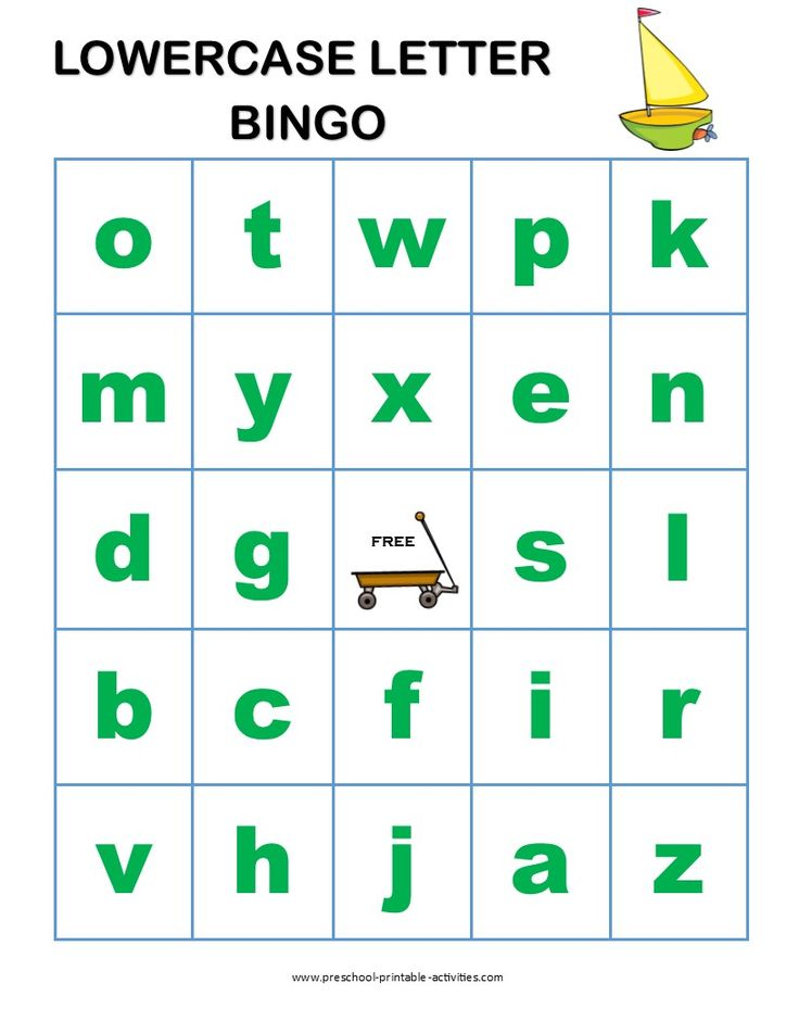 letter recognition bingo game for preschoolers boards for With learning lowercase letters game