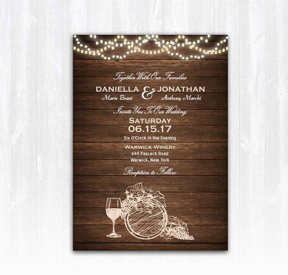 Wine Wedding Invitation DIY PRINTABLE by TreasuredMomentsCard