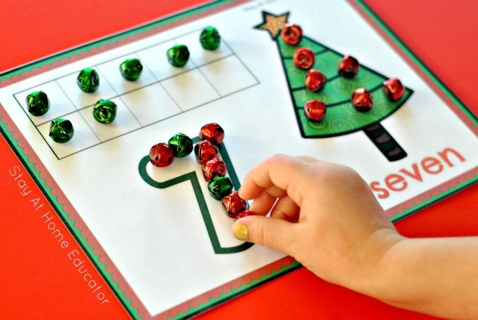 Christmas tree playdough counting mats in Christmas Activity Pack