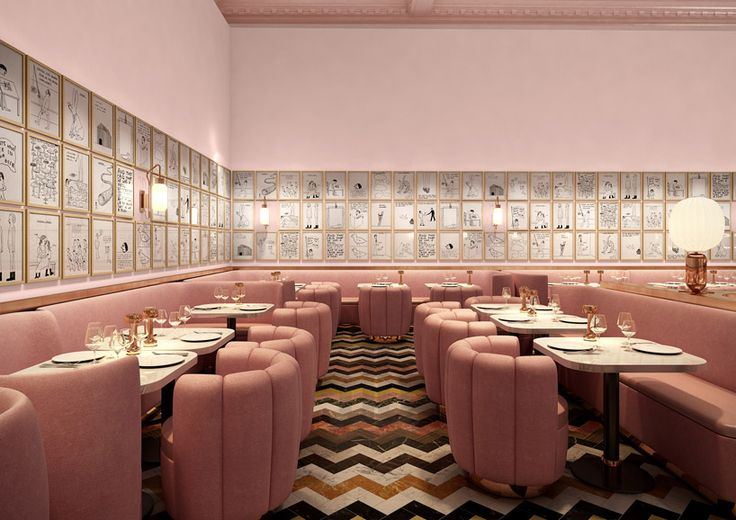 david shrigley lines sketch restaurant's pink walls with 239 original drawings - designboom | architecture