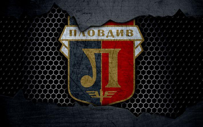 Download wallpapers Lokomotiv Plovdiv, 4k, logo, Parva Liga, soccer, football club, Bulgaria, grunge, metal texture, Lokomotiv Plovdiv FC