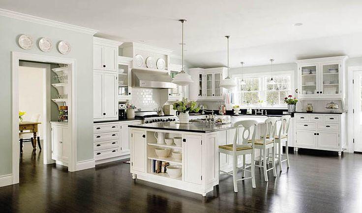 White kitchen dark hardwoods