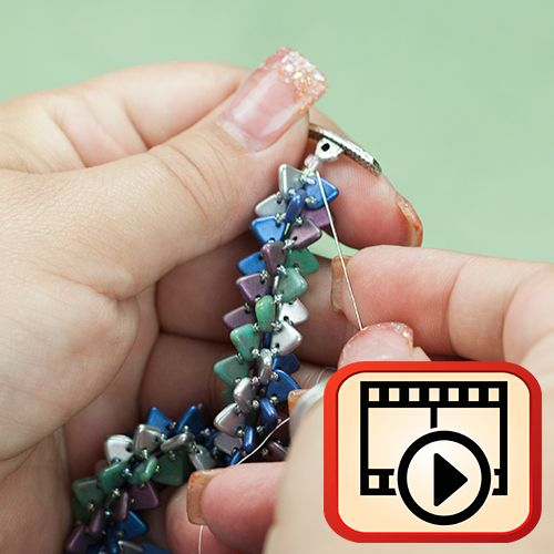 Netted Bracelet with Czech Glass Triangle Bead - intro discussion and video from Auntie's Beads  ~ Seed Bead Tutorials