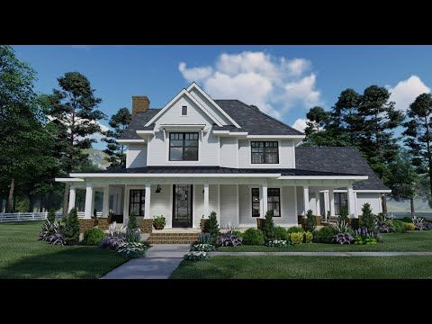 The charming Spring Creek Farm house plan boasts a huge wraparound front porch and unique two-story floor plan layout you won't find anywhere else…