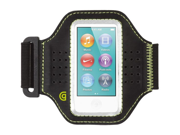 """Griffin Trainer Armband for iPod nano (7th gen.) - Sports armband. Stretch armband adjusts to fit arms up to 19"""" in circumference. Lightweight Polyurethane frame and touch-through vinyl window gives easy access to your touchscreen. Neoprene sleeve has custom cut-out for headphone jack. Compatible with: iPod nano (7th gen.)."""