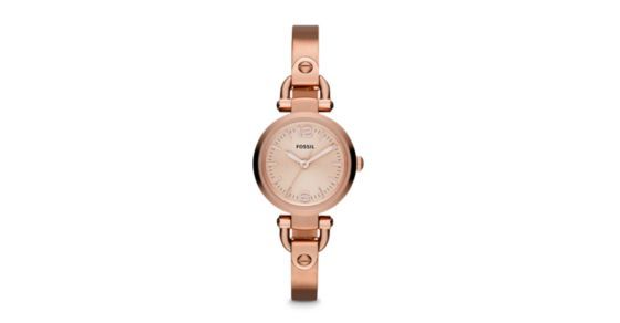 Crafted of stainless steel and brushed with a rose finish, our chic Georgia timepiece lends itself perfectly to office attire and party dressing alike. This Georgia Mini watch also features a three hand movement.*Our Adjust-O-Matic closure allows you to self-adjust the size of Georgia's strap or bracelet, making it the perfect gift that she can wear right away!
