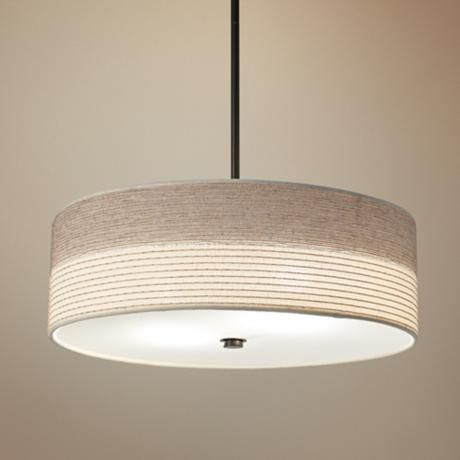 """Fabric Shade with Bronze 20"""" Wide Pendant Light -"""