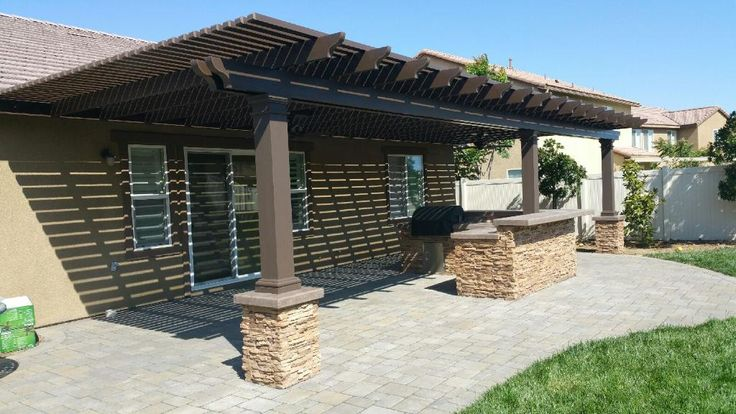 Alumawood Lattice Patio Cover In Spanish Brown Greenbee