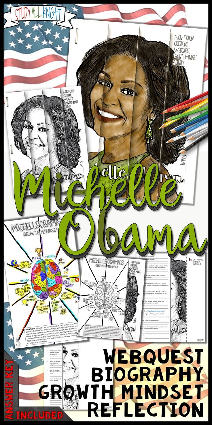 Black History Month is February! Celebrate with American First Lady, Michelle Obama. The activity focuses on Michelle Obama's American story, biography, webquest and engaging growth mindset activity. Your students will use the mind map organizer to identify events, endeavors, accomplishments, and qualities from their reading that fit into Michelle Obama's growth mindset. ($)
