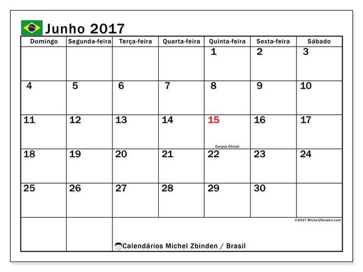 "Calendário junho 2017 ""Feriados públicos BrasilTiberius"" por Michel Zbinden (Brasil)"