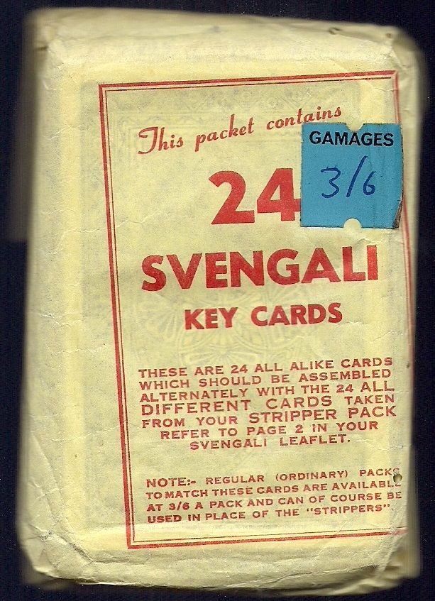 An interesting approach to the Svengali deck. This package from Joe Stuthard puts the buyer in the position of having to collate the cards themselves. This wrapper is exceedingly rare, in that almost all of them were thrown away after the buyer had put their deck together. This was found with a matching regular deck and a copy of Stuthard's Svengali booklet.