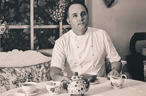"""Executive Chef at The Mount Nelson Hotel, Rudi Liebenberg in his favorite Jacket -custom made for him by Minted Ginger in our light- weight 100% cotton with his initials embroidered subtly on the left breast. Responsible for the Planet Restaurant's"""" heavenly menus, journeys of gastronomic discovery featuring the freshest local ingredients,"""" Rudi is also involved in charitable initiatives and judging of competitions for aspiring Chefs."""