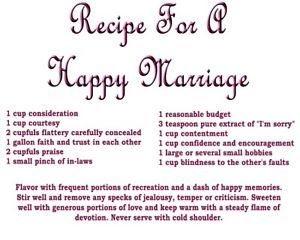 """Recipe for A Happy Marriage"""" Cooking Apron 