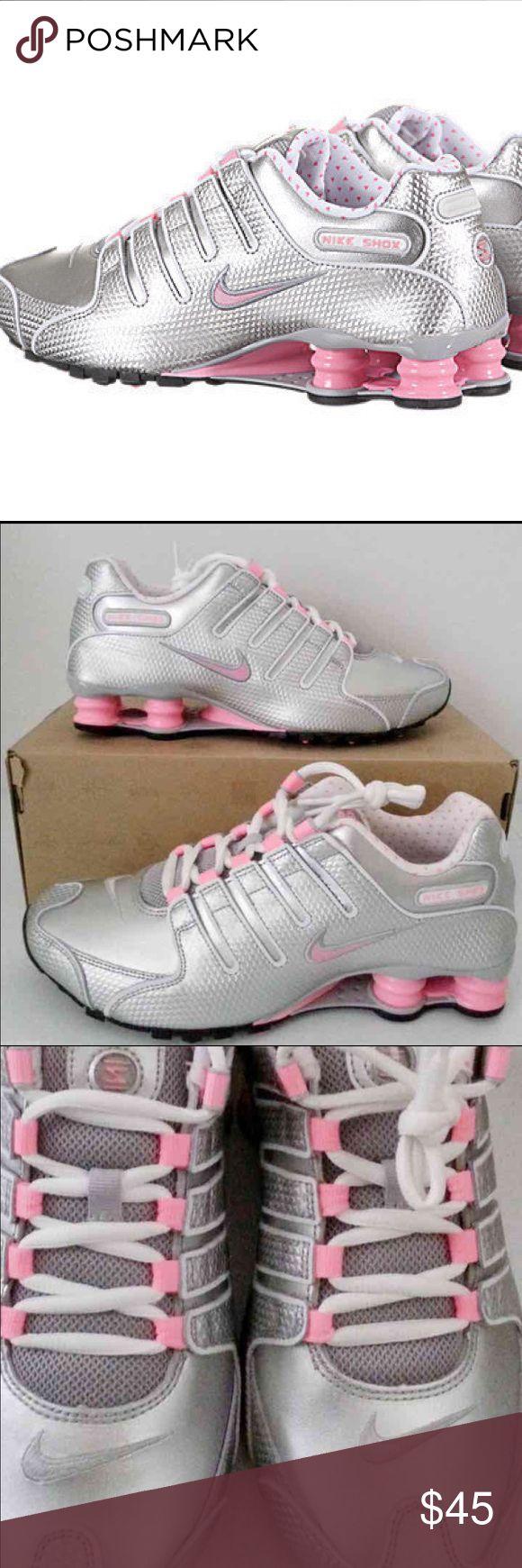 NIKE SHOX NZ EU METALLIC SILVER/PINK Sz8 NIKE SHOX NZ EU PINK/SILVER. Color: Cool Grey / Pink Metallic Silver White. RUNNING SHOES WOMENS Minor scuff on inside back left heel. SIZE 8. No box Retails for $185 Nike Shox Shoes Athletic Shoes