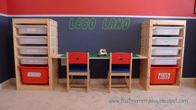 """Materials: Trofast (x3), Wood Shelf, 2.5"""" Hex ScrewsDescription: My Adjustable Height Lego Play Table and Storage Unit combines the Lego storage ideas you may h"""