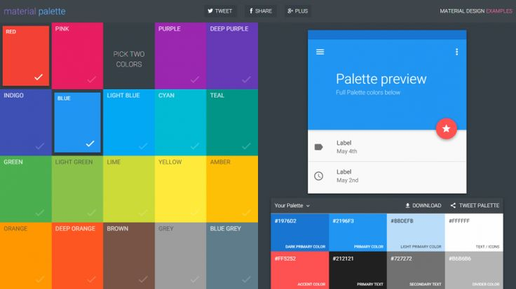 Jump start your new project and generate a complete Material Design color palette in an instant.