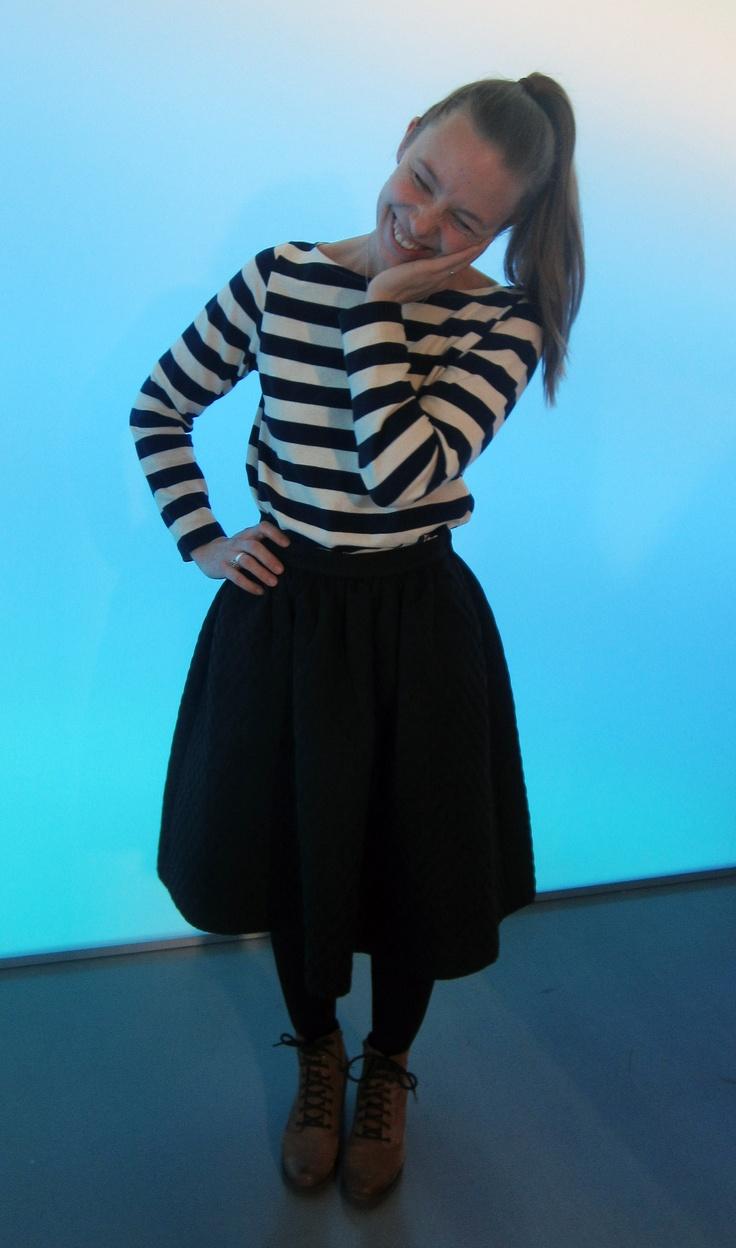 Shirt; Samuji, Skirt; H, Shoes; Vagabond
