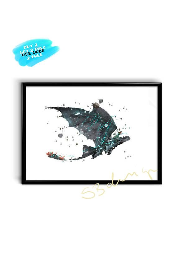 How To Train Your Dragon Watercolor Poster Nursery Printable