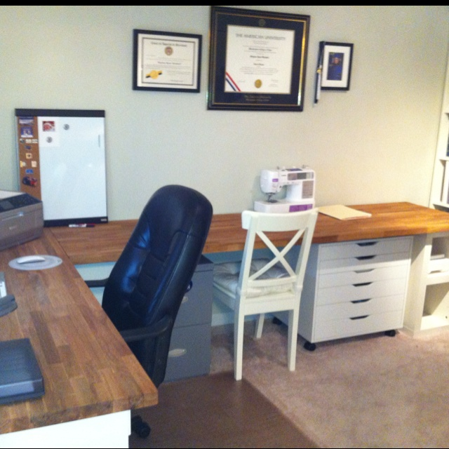 """Butcher block desk.. I may do something similar.     """"Office is almost finished! Ikea butcher block counter tops with Ikea Alex desk pieces underneath."""""""