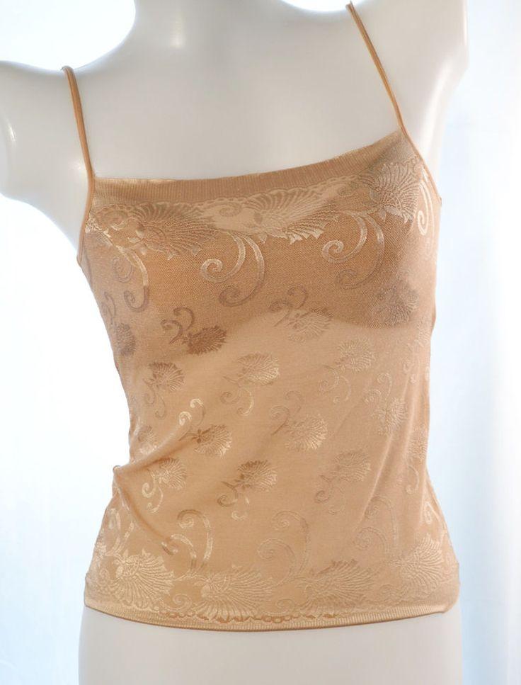 Women's tan cotton nylon embroidery bra camisole  top size P/M, no. 015  | eBay