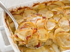 Potato Casserole with Bacon and Caramelized OnionAmerica Test Kitchens, Cooking Illustration, Side Dishes, Caramel Onions, Food, Onions Recipe, Bacon, Meat And Potatoes, Potatoes Casseroles