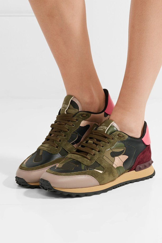 a644c11ad4b41 Rococo Sand Floral Maxi Dress Valentino Camo Sneakers, Green Sneakers,  Sports Footwear, Woman