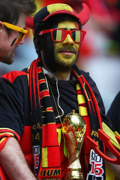 Belgium supporter enjoys the pre match atmosphere prior to the UEFA EURO 2016 Group E match between Belgium and Republic of Ireland at Stade Matmut...