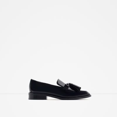 Image 1 of LEATHER LOAFERS WITH TASSELS from Zara