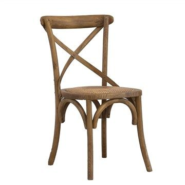 Solid Elm Timber French Cross Back Dining Chair - Golden Oak $125Finish