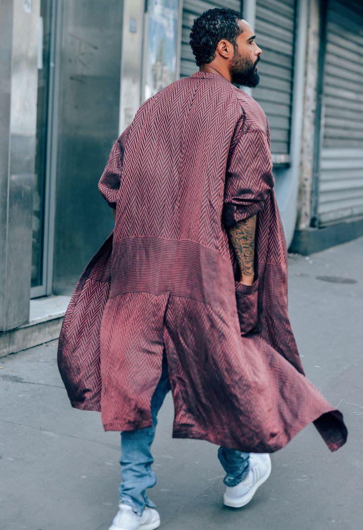 man street loose flowing dusky pink coat duster unstructured robe loungewear
