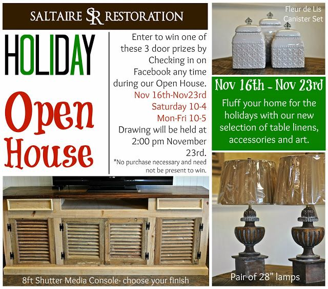 Holiday Open House Nov 16th 23rd! Great Giveaways!