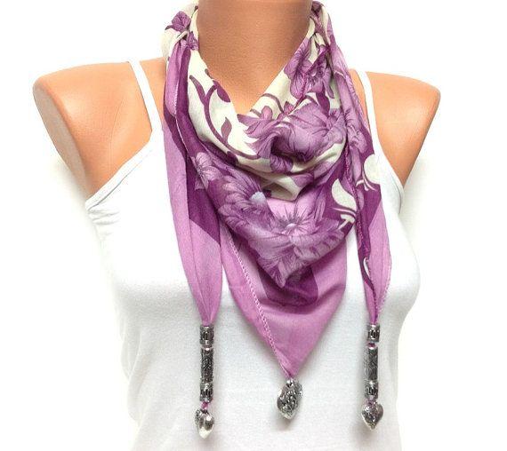 Triangle purple cream color jewelry scarf