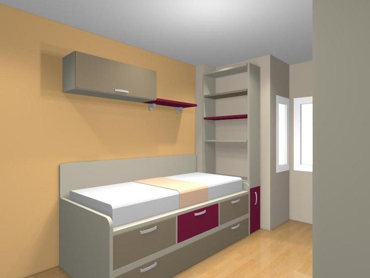 65 best images about dormitorios juveniles habitaciones - Dormitorios juveniles espacios pequenos ...