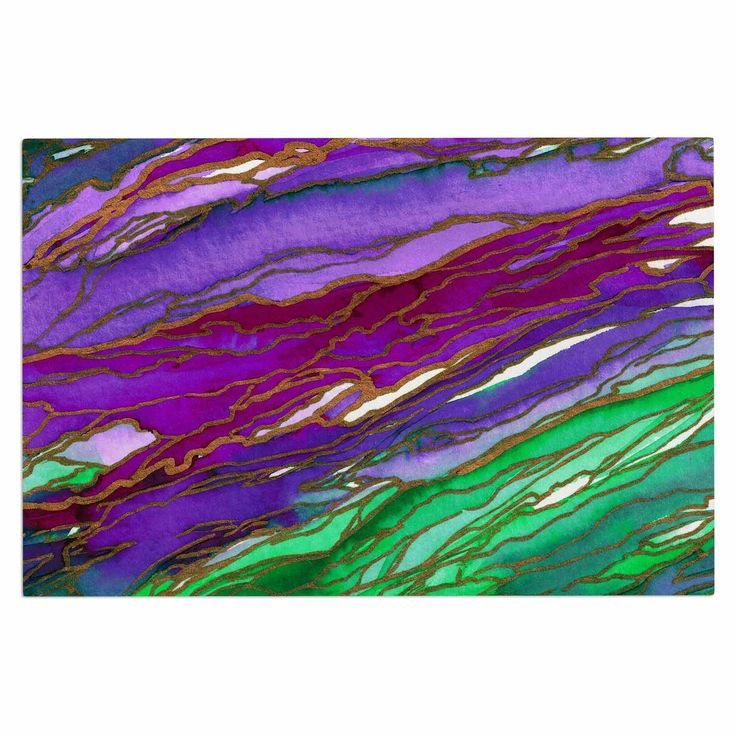 "Ebi Emporium ""Agate Magic - Lime Purple"" Green Lavender Decorative Door Mat"