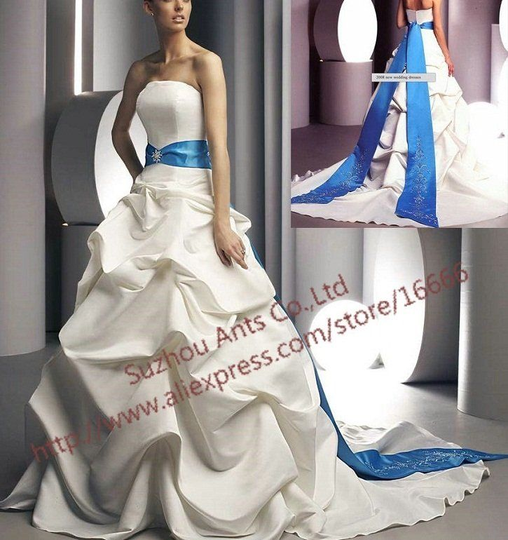 promotion sash royal blue and white wedding dress a line cw041 in wedding dresses from