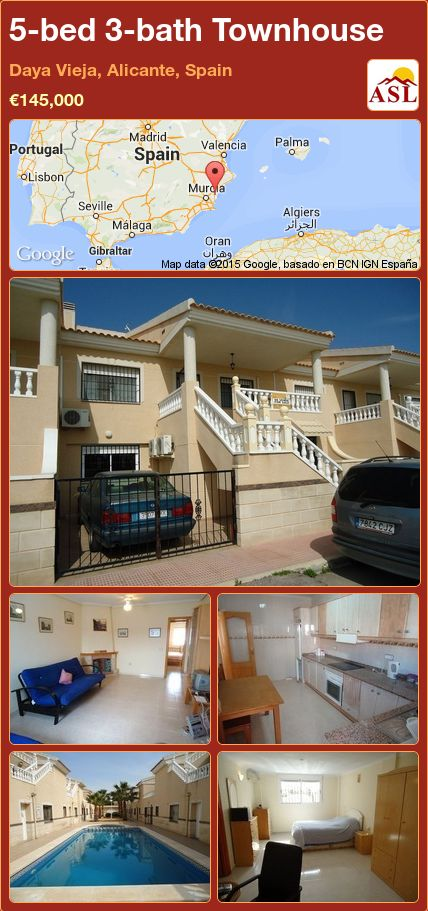 5-bed 3-bath Townhouse in Daya Vieja, Alicante, Spain ►€145,000 #PropertyForSaleInSpain