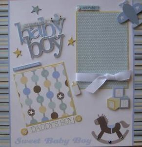 2 Page Scrapbook Layouts | Details about Premade scrapbook pages baby boy layout 2 page set blue