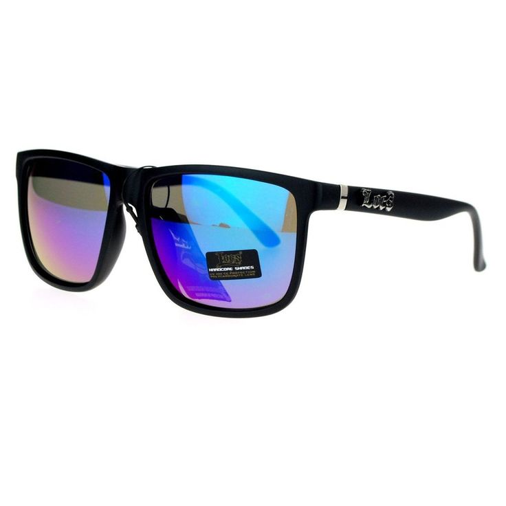 Locs Mirror Lens Gangster Oversized Rectangular horned Sunglasses Teal mirrored #Imported