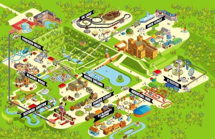 Theme Park Thoughts Park Map Design Theme Park Map Isometric Map Illustrated Map