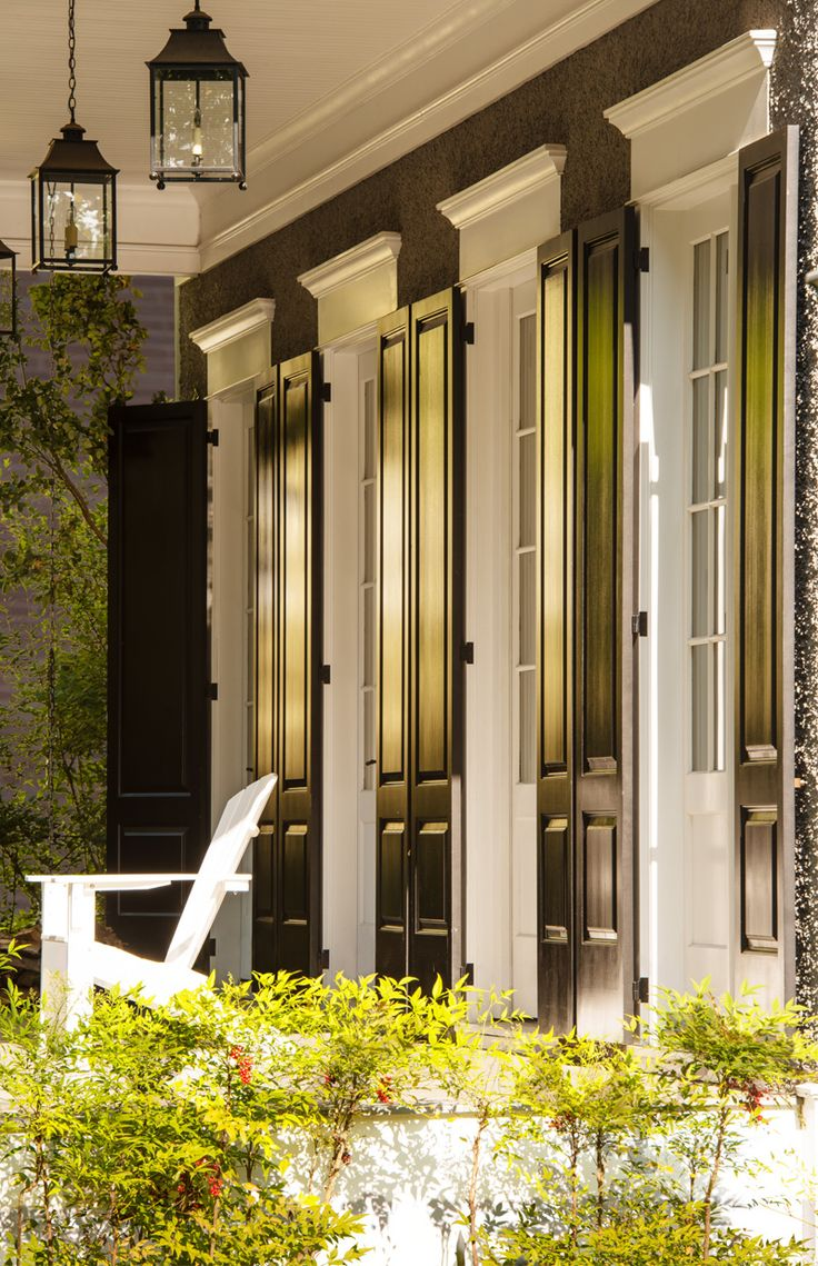 Donald Lococo Architects | white french doors & black shutters