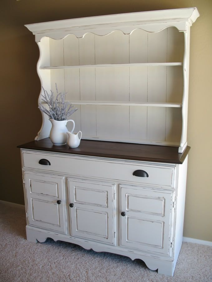 White hutch with dark top...can't decide between white or black for refinishing my hutch!