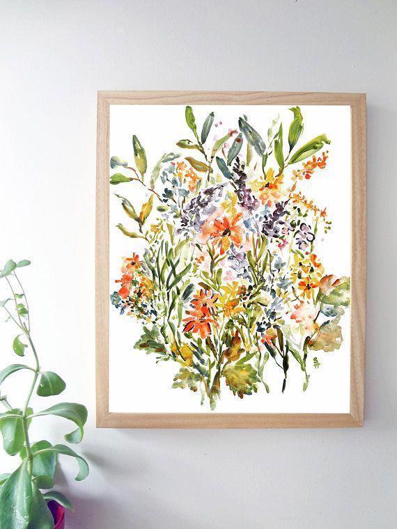 Rustic Mix Watercolor Fine Art Print Watercolor Flowers
