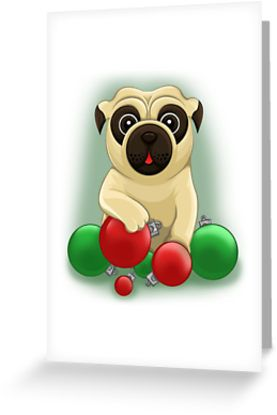 A Pug Christmas Greeting Cards by AnMGoug on Redbubble. #Christmas #MerryChristmas #card #pug #dog