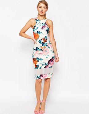 ASOS Mesh Panel Cutaway Neck Floral Body-Conscious Midi Dress