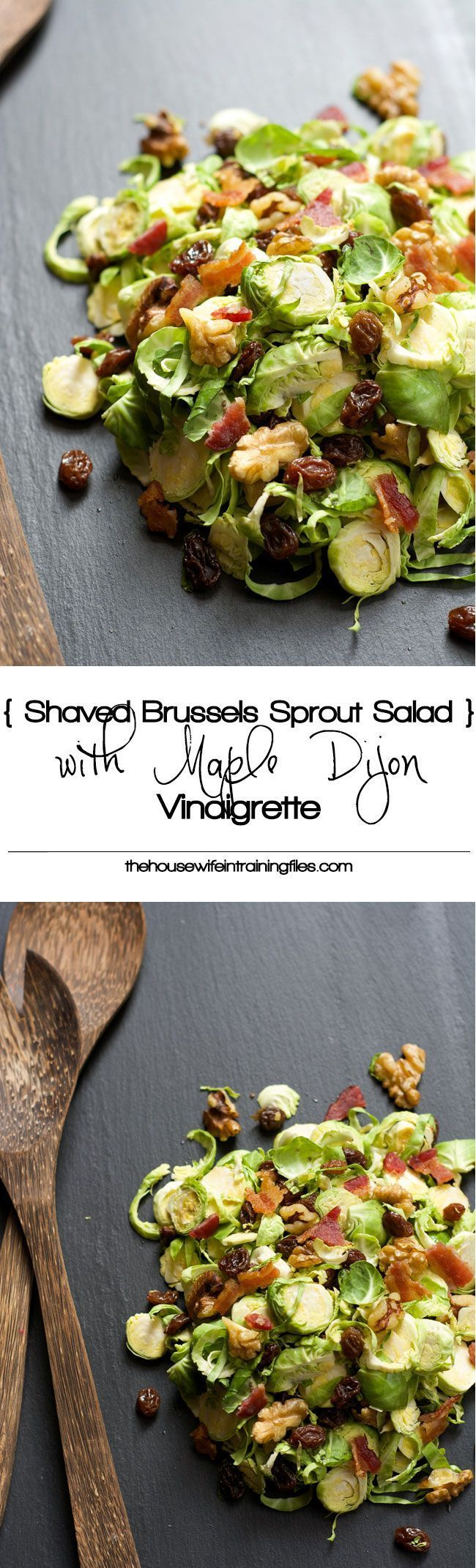 Shaved Brussels Sprout Salad | Shredded, Recipes, Crunchy, Healthy, Raw, Cranberries, Warm, With Bacon, Cold, Dressing